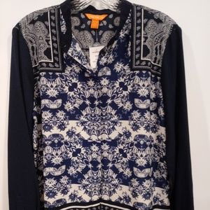 NEW JOE FRESH Navy/White Multiprint Button Down